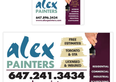 Alex Painters Business Card and Sign