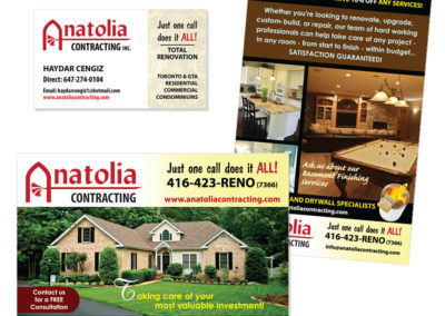 Anatolia Contracting Business Card and Postcard