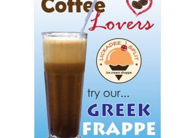 Lickadee Split Greek Frappe Sign